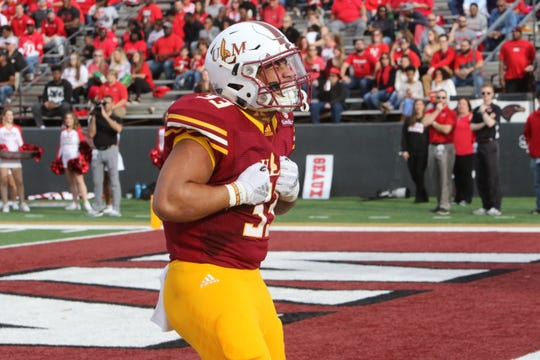 ULM running back Austin Vaughn (33) has been the most productive in two scrimmages and currently sits atop the depth chart.