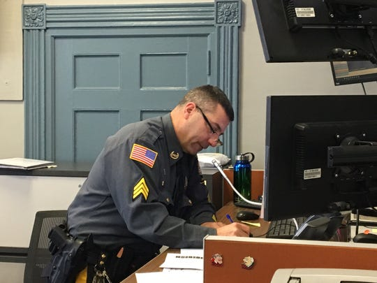 Morris County Sheriff's Office Sgt. John Rospond at his command post during an active shooter training drill in the courthouse.