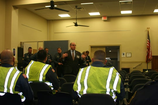 Morris County Superior Court Assignment Judge Stuart Minkowitz addresses sheriff's officers after an active shooter training drill