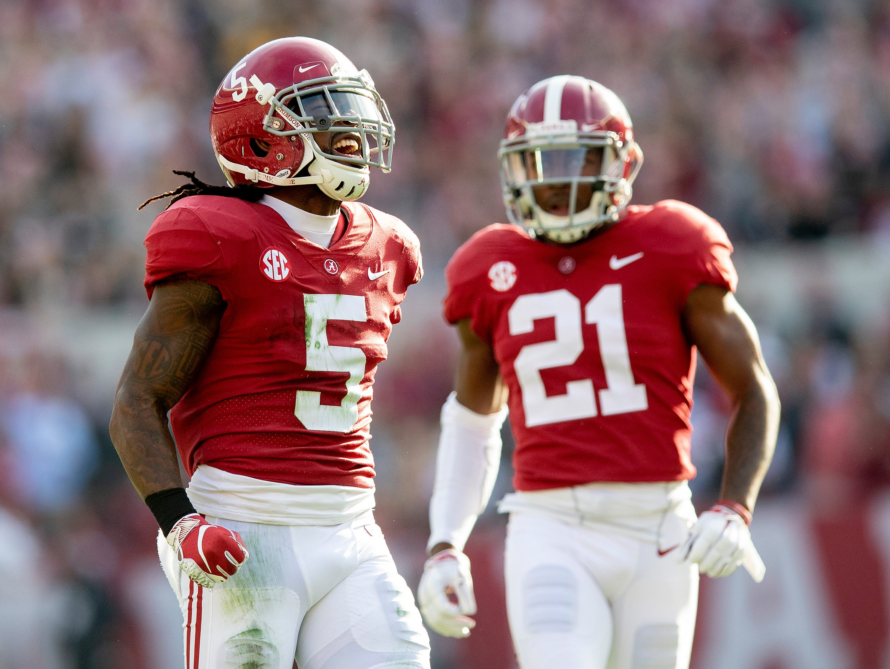 Alabama defensive back Shyheim Carter (5) celebrates a stop against Auburn in first half action during the Iron Bowl at Bryant-Denny Stadium in Tuscaloosa, Ala., on Saturday November 24, 2018.