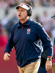 Auburn head coach Gus Malzahn in first half action during the Iron Bowl at Bryant-Denny Stadium in Tuscaloosa, Ala., on Saturday November 24, 2018.