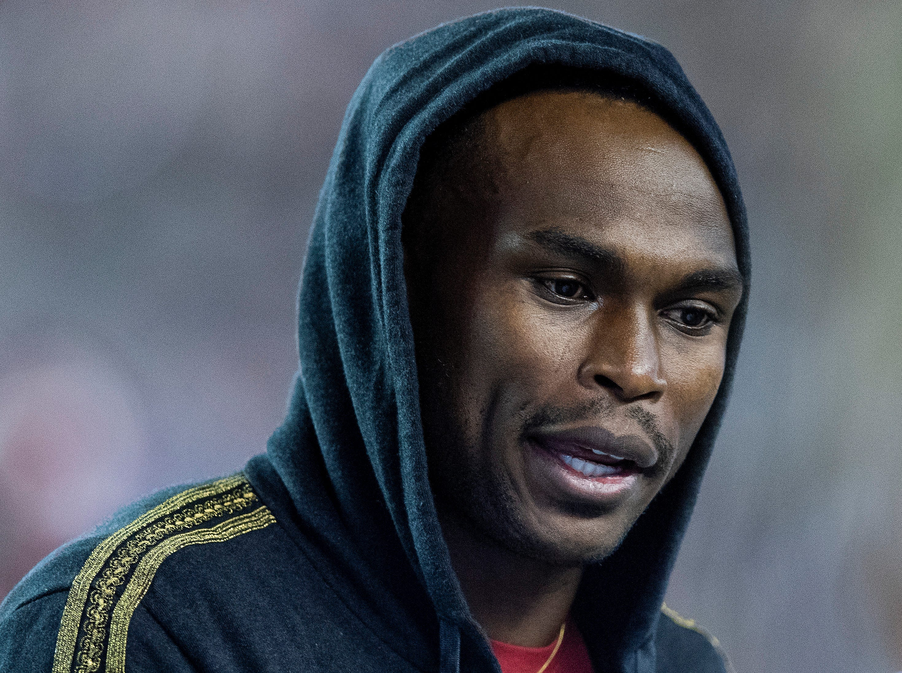Former Alabama receiver and current NFL player Julio Jones watches the Iron Bowl at Bryant-Denny Stadium in Tuscaloosa, Ala., on Saturday November 24, 2018.