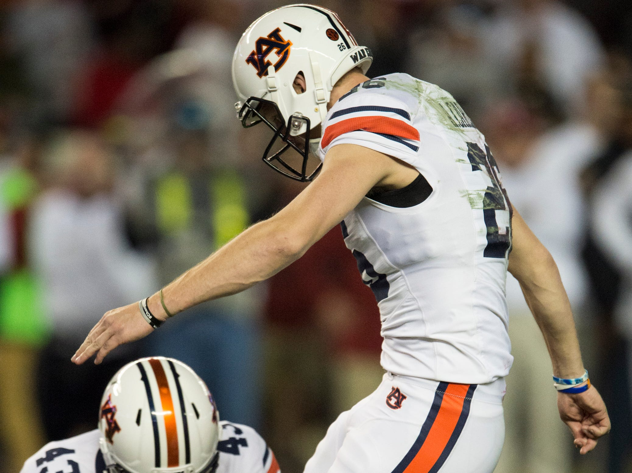 Auburn kicker Anders Carlson (26) kicks an extra point against Alabama during the Iron Bowl at Bryant-Denny Stadium in Tuscaloosa, Ala., on Saturday, Nov. 24, 2018. Alabama defeated Auburn 52-21.