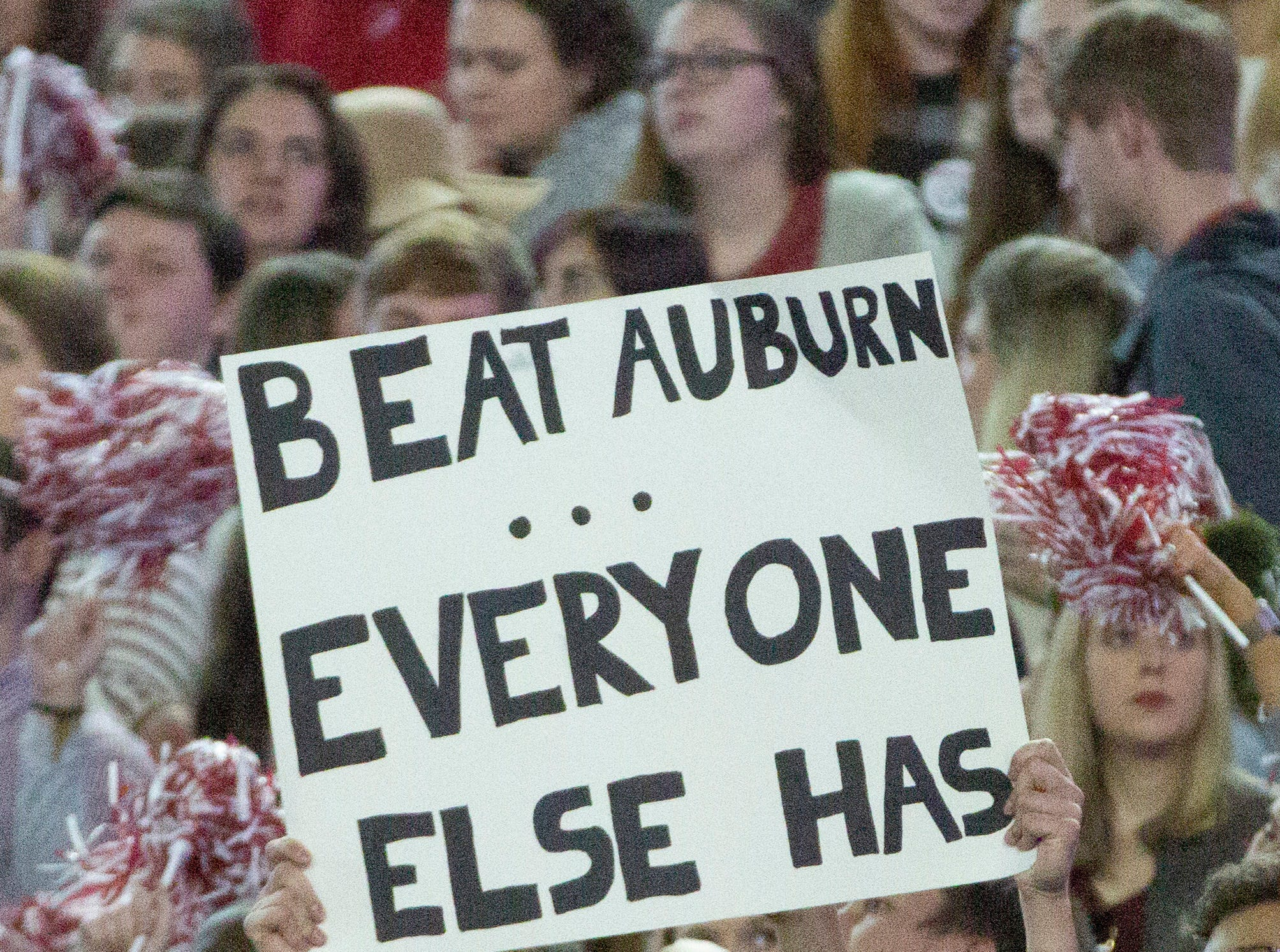 An Alabama fan in the student section.