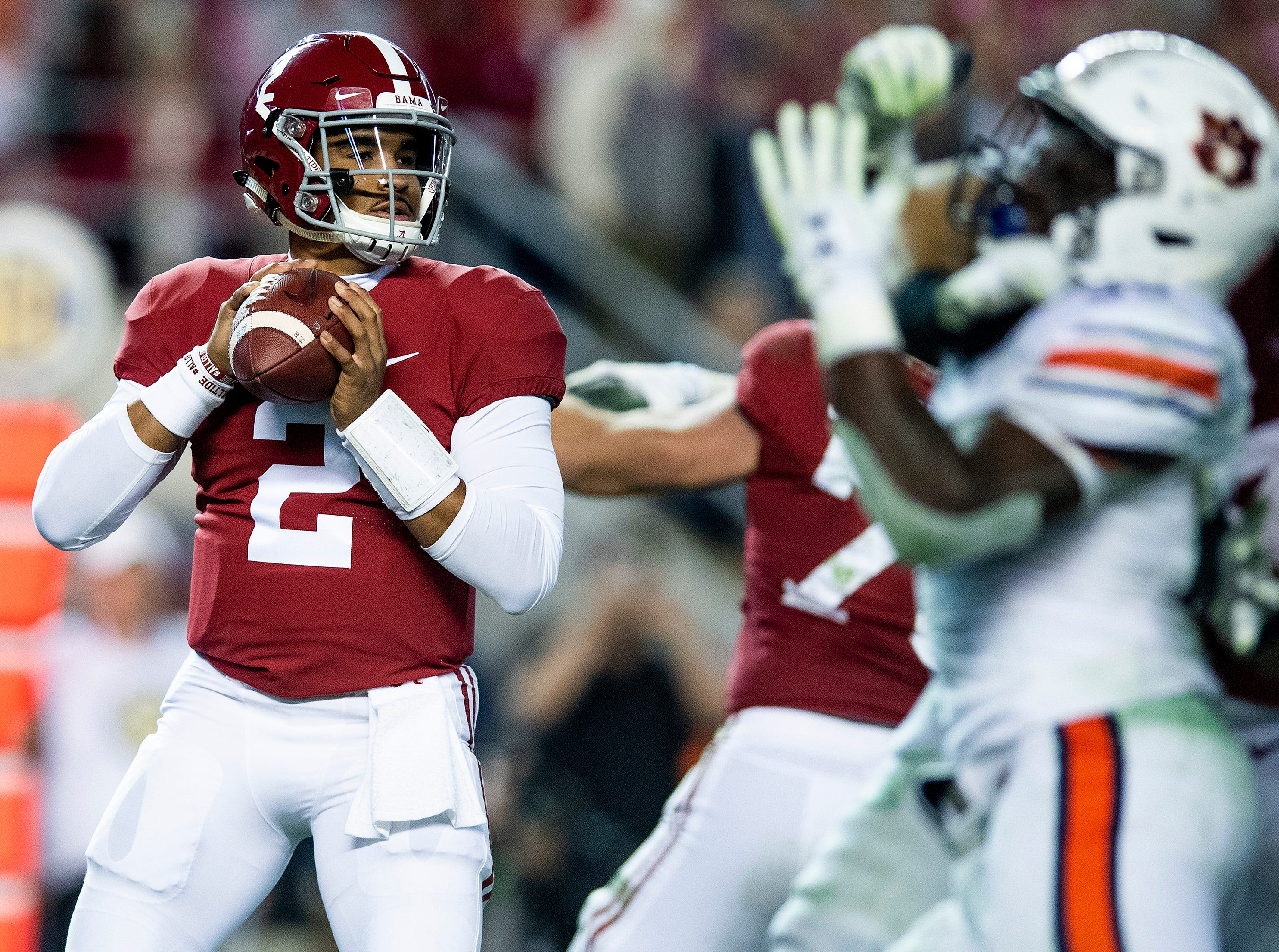 Alabama quarterback Jalen Hurts (2) looks to pass against Auburn in second half action during the Iron Bowl at Bryant-Denny Stadium in Tuscaloosa, Ala., on Saturday November 24, 2018.