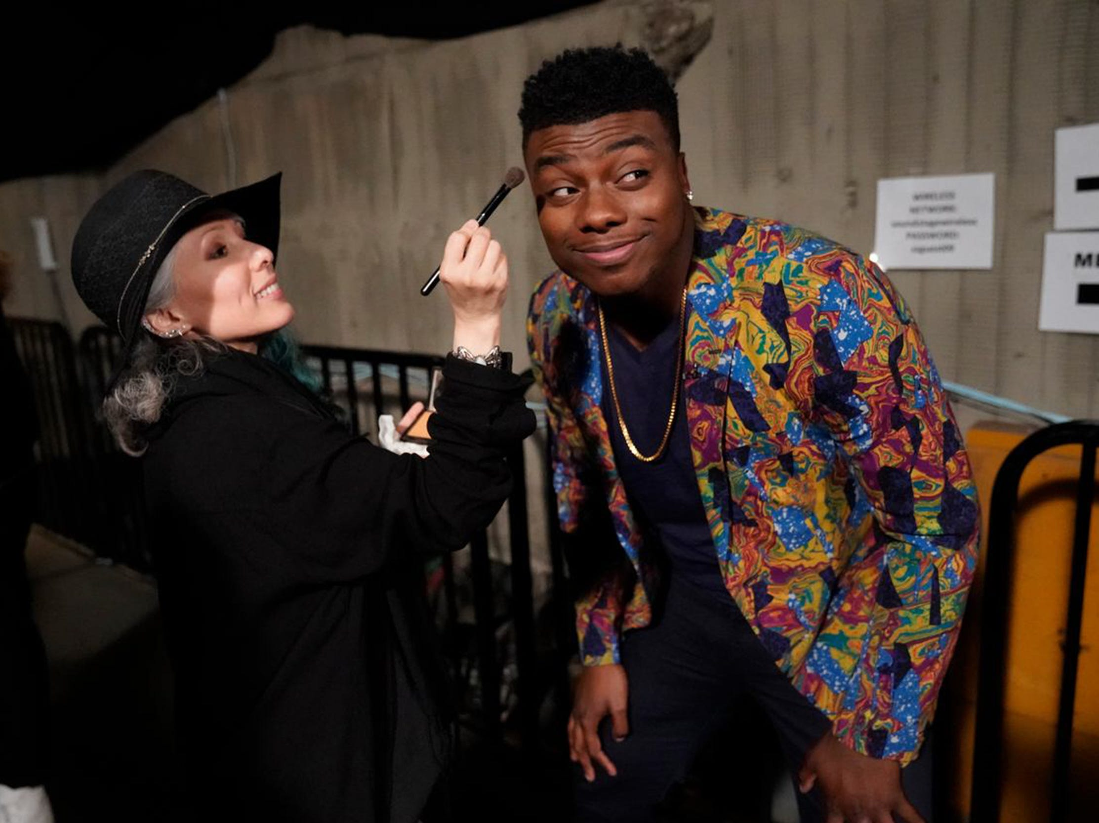 "Kirk Jay gets a touch up on makeup. Jay is in the top 11 on NBC's ""The Voice,"" and will perform again live on Monday, Nov. 26."
