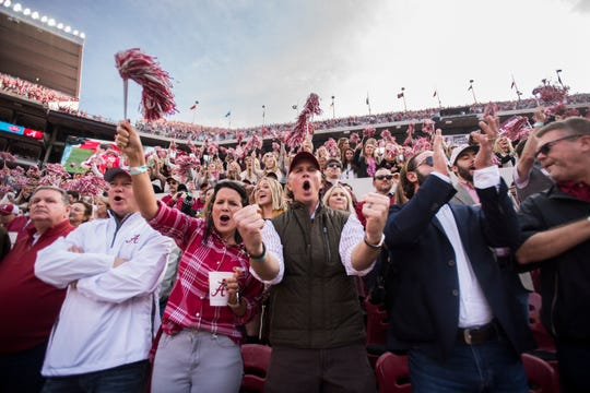 Fans get pumped up at the opening kickoff during the Iron Bowl at Bryant-Denny Stadium in Tuscaloosa, Ala., on Saturday, Nov. 24, 2018. Alabama leads Auburn 17-14 at halftime.