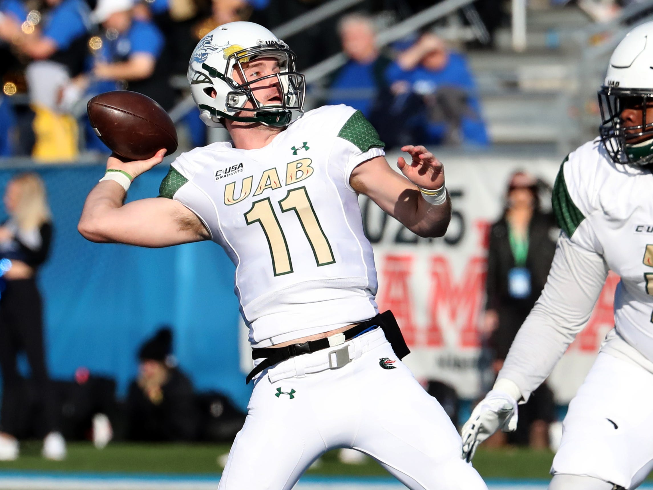 UAB's quarterback AJ Erdely (11) passes the ball during the game against MTSU at MTSU on Saturday, Nov. 24, 2018.