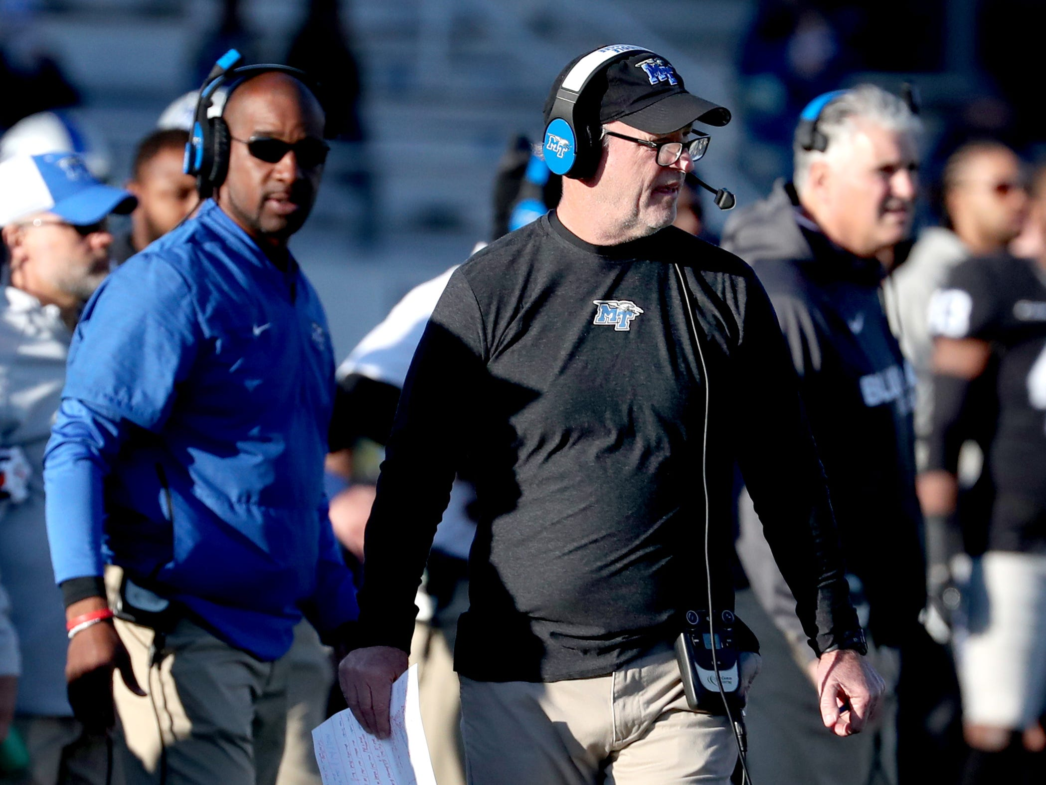 MTSU's offensive coordinator Tony Franklin on the sidelines during the game against UAB at MTSU on Saturday, Nov. 24, 2018.