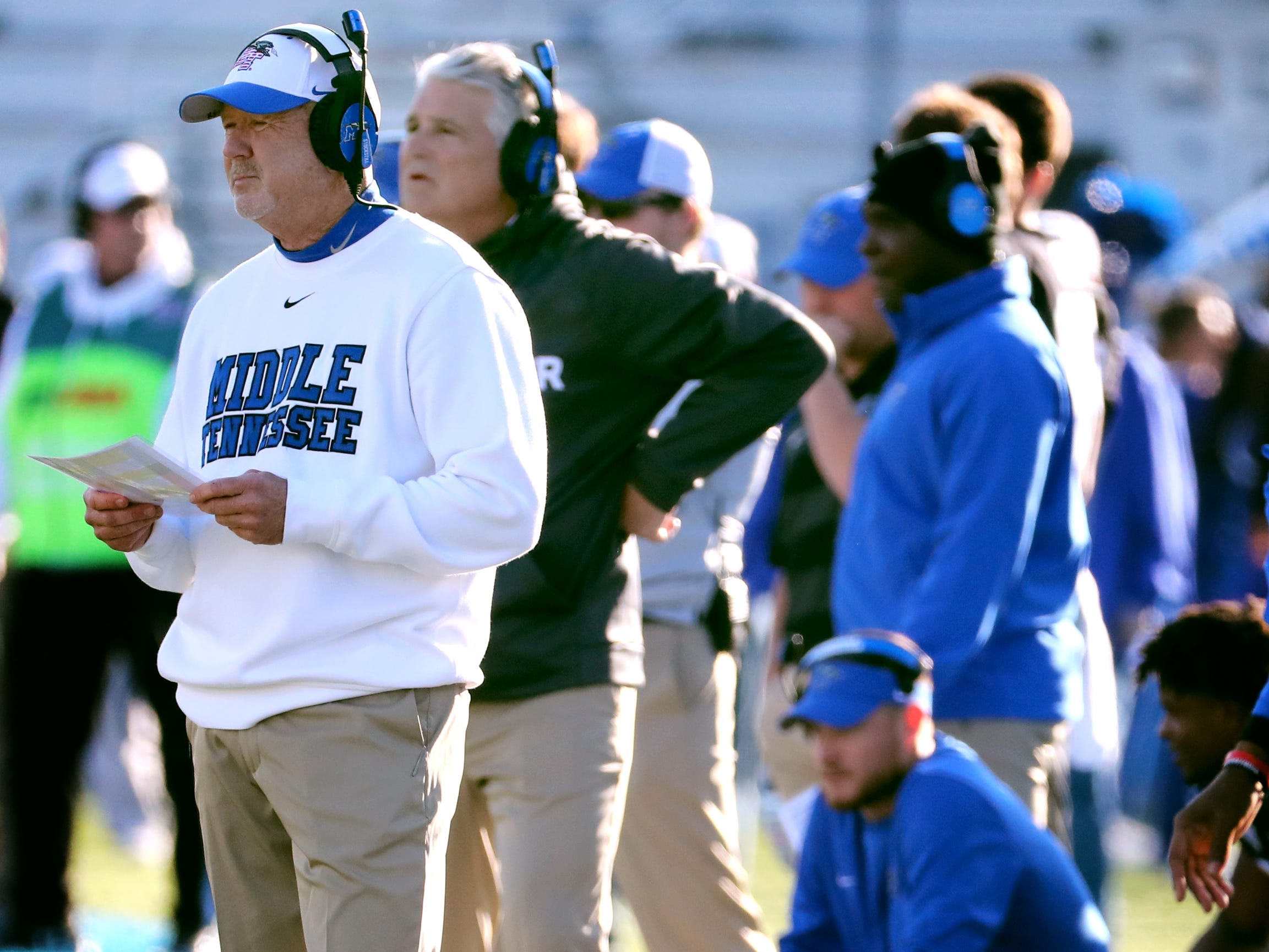 MTSU's head coach Rick Stockstill on the sidelines during the game against UAB at MTSU on Saturday, Nov. 24, 2018.