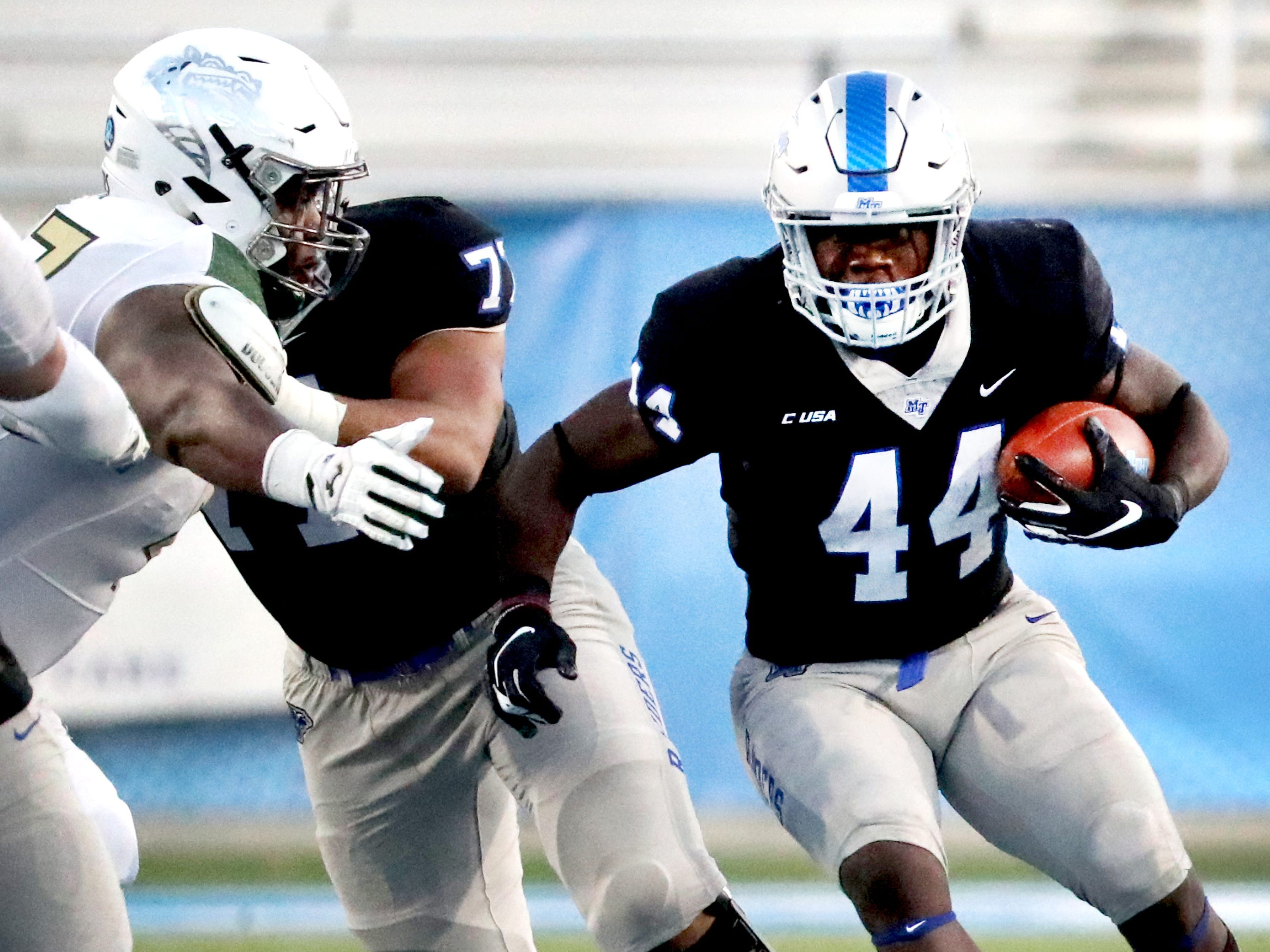 MTSU's Chaton Mobley (44) runs the ball during the game against UAB at MTSU on Saturday, Nov. 24, 2018.