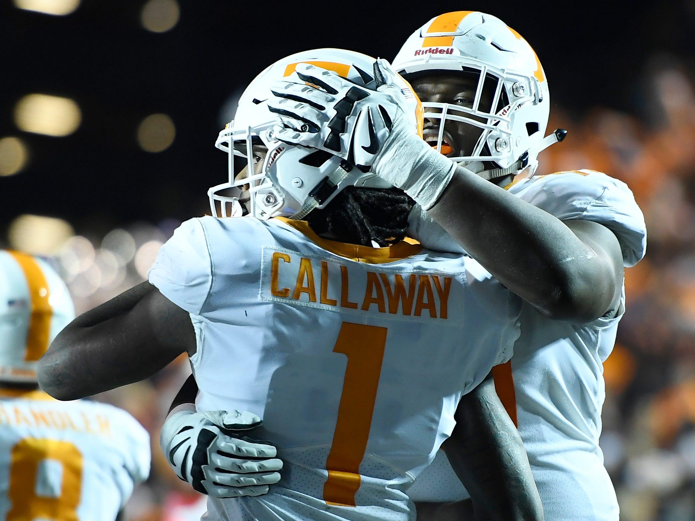 Tennessee wide receiver Marquez Callaway (1) celebrates his touchdown in the second half at Vanderbilt Stadium Saturday, Nov. 24, 2018, in Nashville, Tenn.