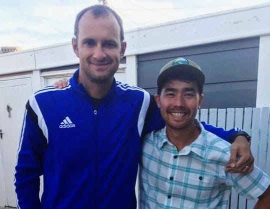 American adventurer John Allen Chau, right, poses for a photograph with Ubuntu Football Academy founder Casey Prince in Cape Town, South Africa, days before Chau left for North Sentinel Island, where he was killed.