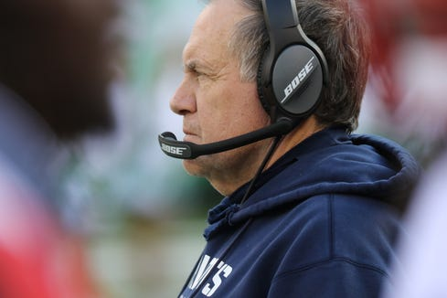Patriots Head Coach, Bill Belichick, watches the first half from the sideline, Sunday, November 25, 2018.