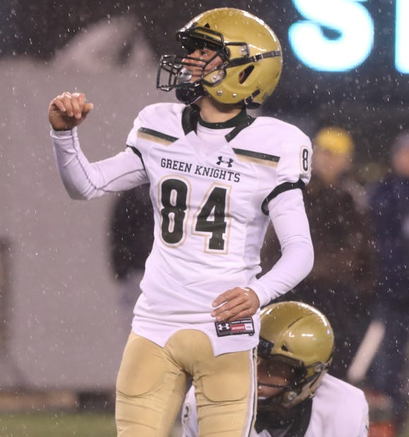 Angelo Guglielmello of St.Joseph after making an extra point in the first half to set the record for the most career kicking points by a New Jersey player. The record had been 249 points.