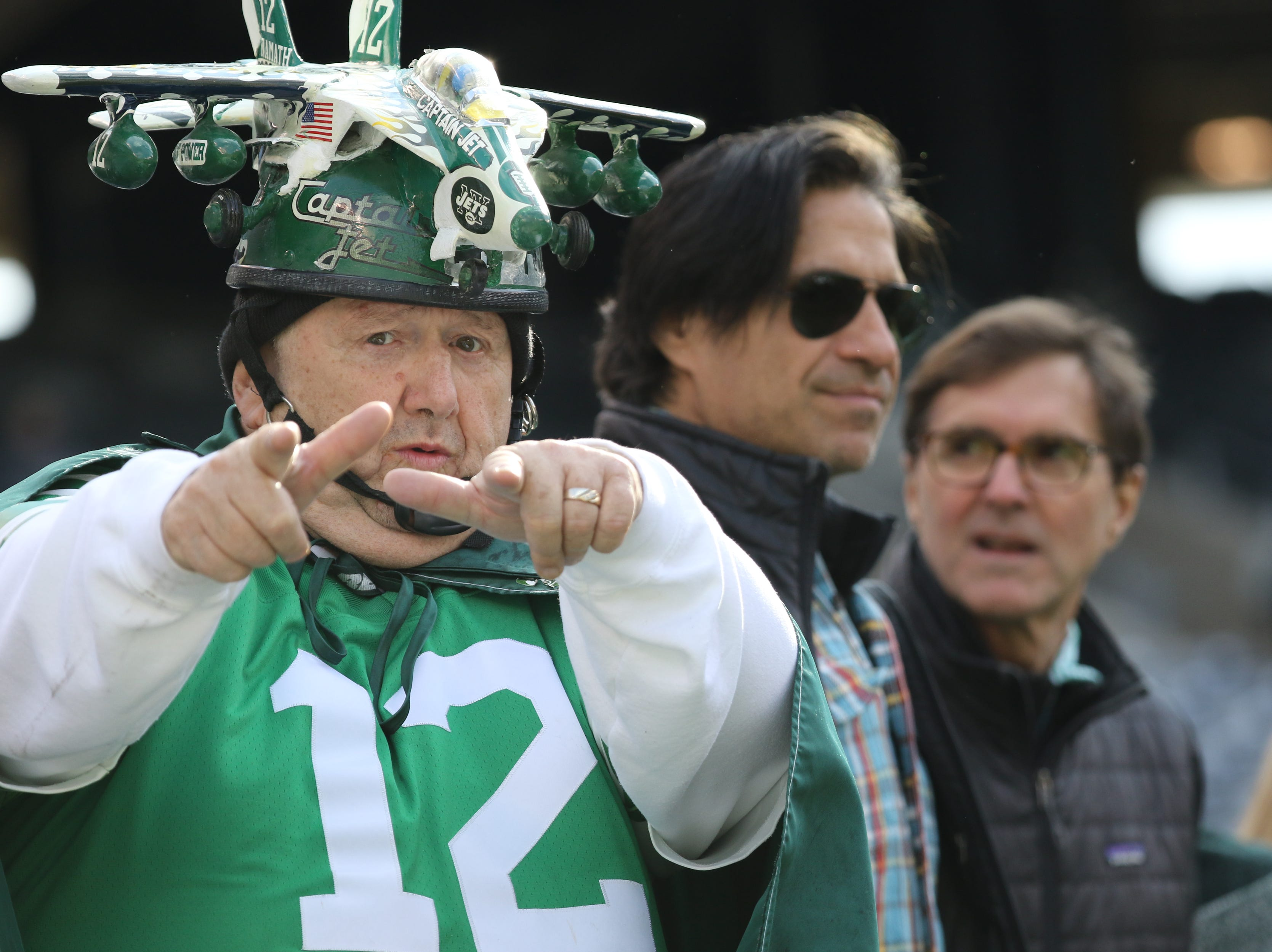 A Jets fan is ready for the game to start at MetLife Stadium. November 25, 2018