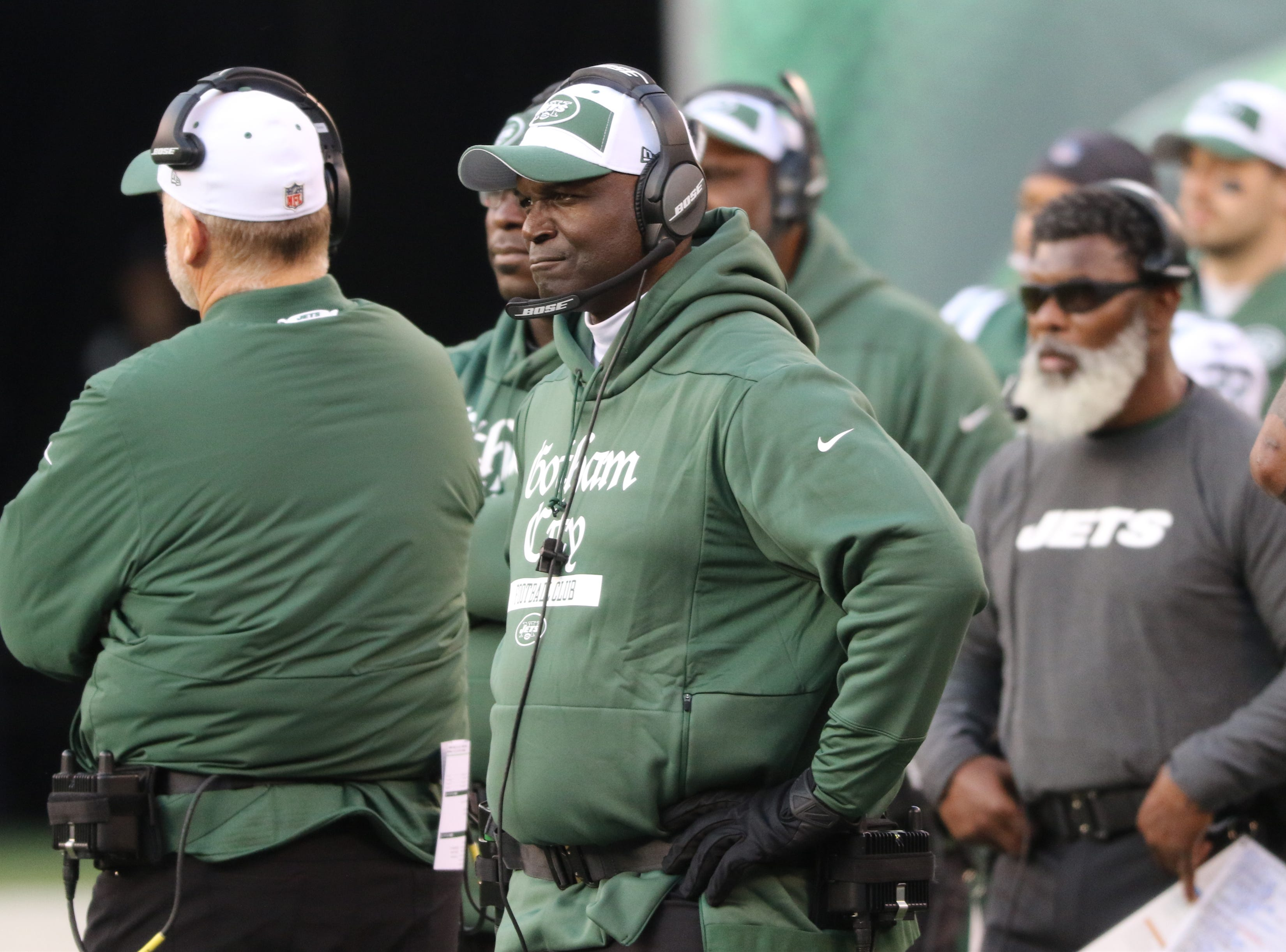 Jets Head Coach, Todd Bowles watches as the Jets let another game slip away in the second half. Sunday, November 25, 2018