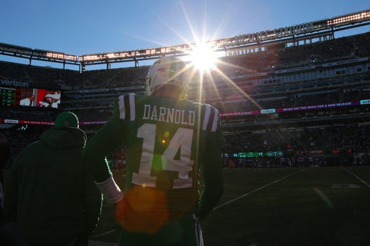 Oct 21, 2018; East Rutherford, NJ, USA; New York Jets quarterback Sam Darnold (14) stands on the sidelines during the fourth quarter against the Minnesota Vikings at MetLife Stadium.