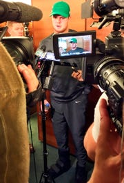 "New York Jets quarterback Sam Darnold, talking with the media in the locker room in Florham Park, says when he was out in New York during the team's bye week, few people recognized him. ""People would think, 'Oh, you're the quarterback of the Jets, you might get recognized a lot.' But that wasn't the case. It was me just walking around."""