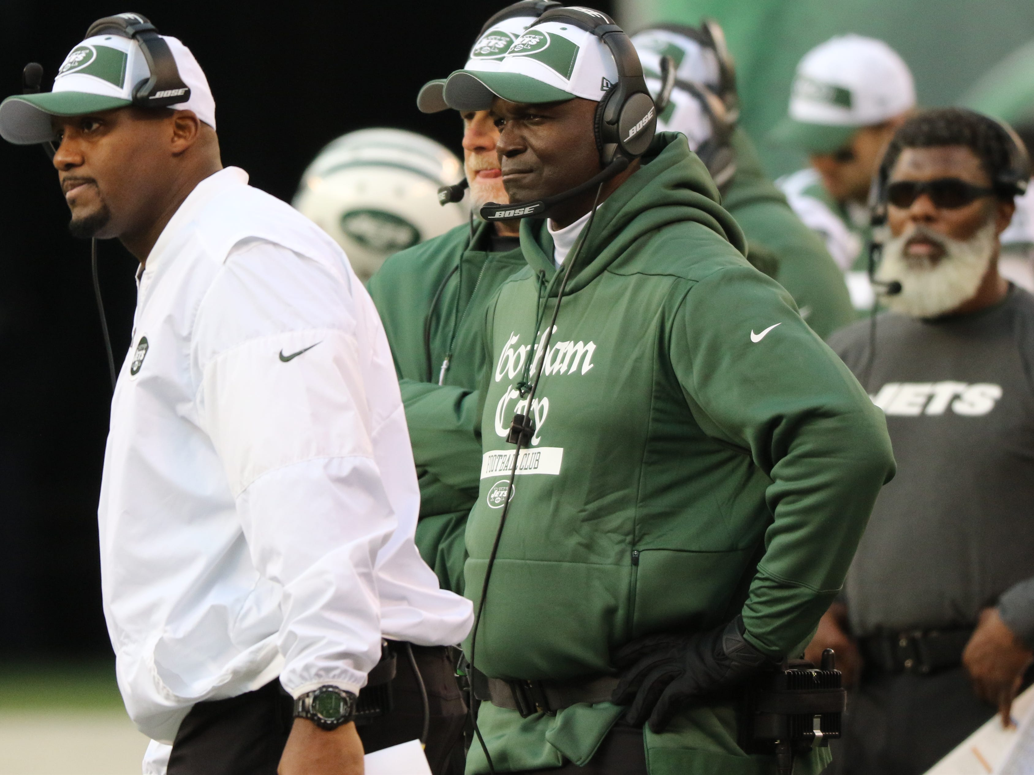 Jets Head Coach, Todd Bowles and others can be seen during the second half. Sunday, November 25, 2018