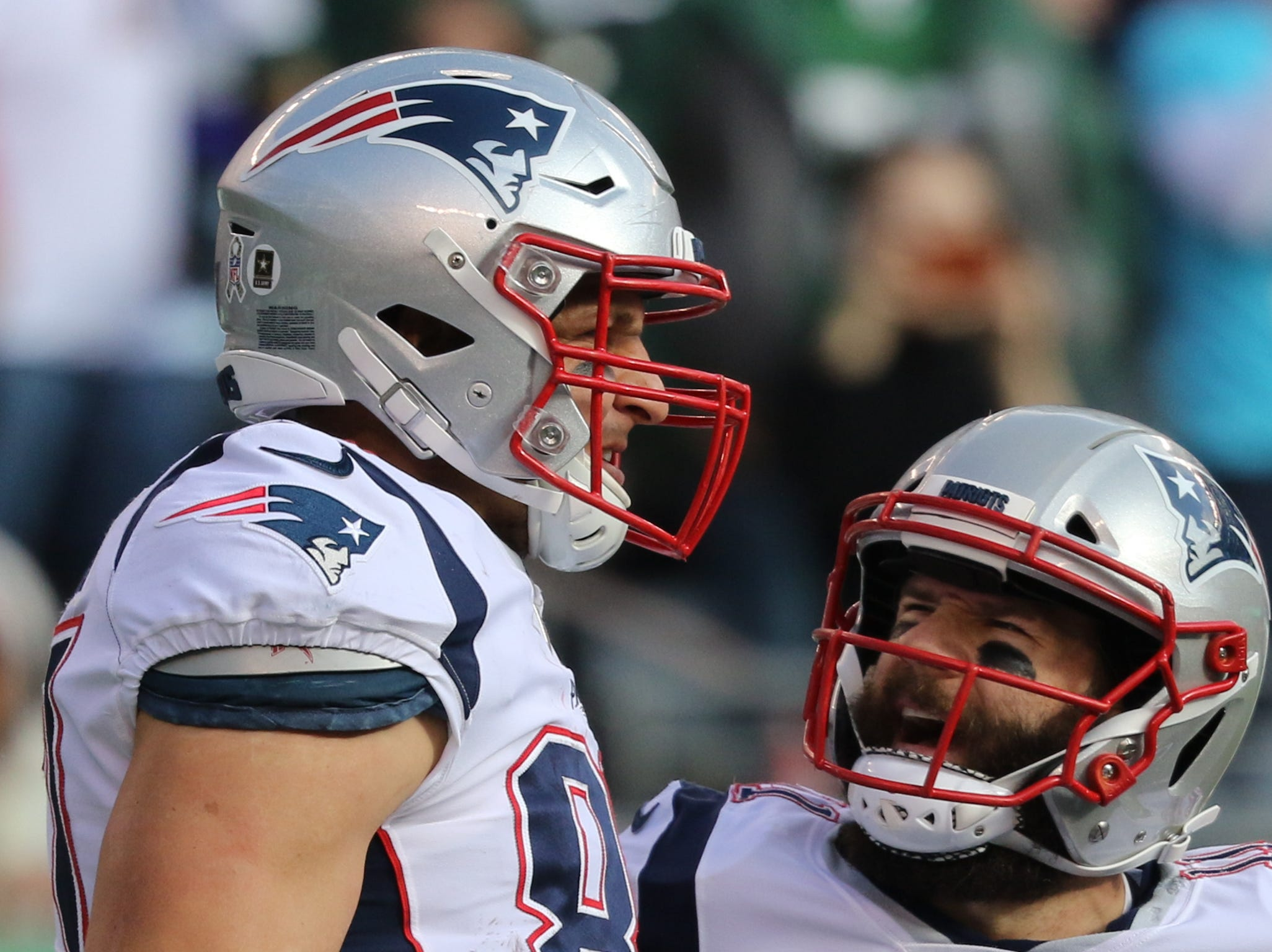 Rob Gronkowski, of the Patriots is congratulated by his  Julian Edleman, after scoring a first half touchdown. Sunday, November 25, 2018