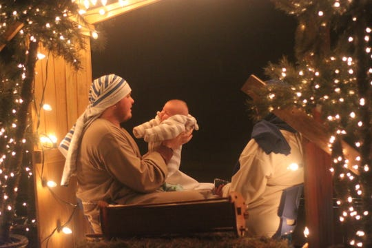 A manger scene is part of a float in Carlsbad's annual Light Parade, Nov. 24, 2018 in downtown Carlsbad.