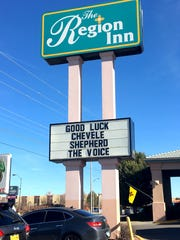 The Region Inn at 601 E Broadway Ave. in Farmington is showing its support in a very visible way for Farmington High junior Chevel Shepherd, who competes again Monday night on NBC TV's national talent competition 'The Voice.""