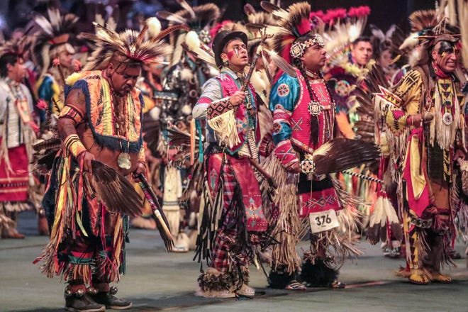 About 500 dancers representing a hundred Native American tribes from the United States and Canada take part in the Grand entry at the 37th Indio Powwow hosted by the Cabazon Band of Mission Indians and held at the Fantasy Springs Resort and Casino in Indio on Saturday November 24, 2018.