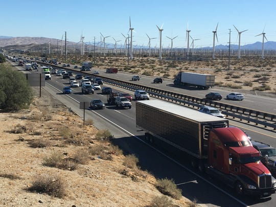 Traffic backed up for miles on westbound Interstate 10 Sunday as people headed home after Thanksgiving.