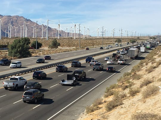 This file photo shows holiday congestion on Interstate 10 near Palm Springs. The Riverside County Transportation Commission launched an initiative for people to report road issues across the region.
