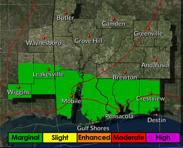 Isolated severe storms are possible Sunday afternoon and evening in the Pensacola area.