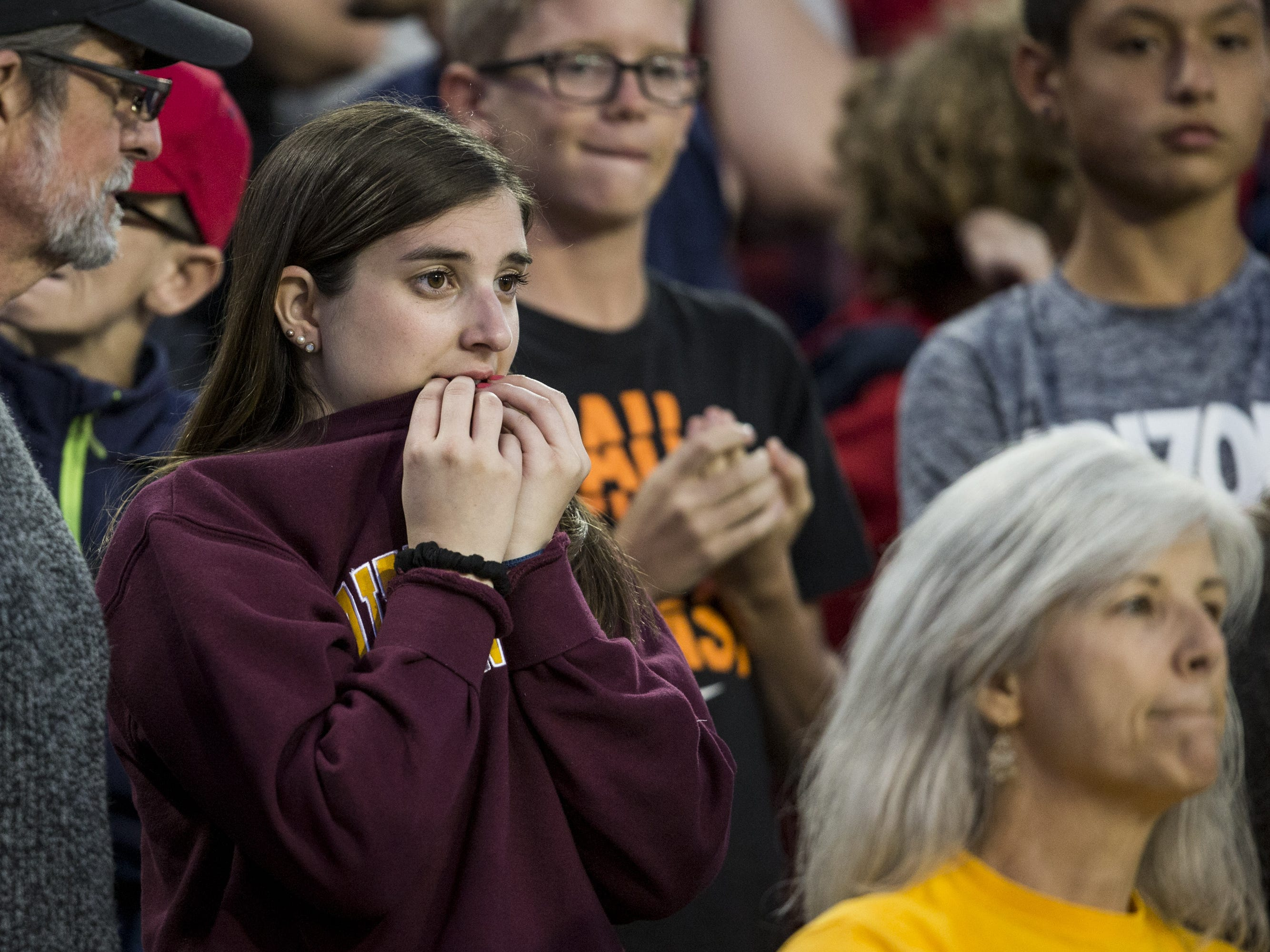 Arizona State fans watch the game against Arizona during the second half of the Territorial Cup on Saturday, Nov. 24, 2018, at Arizona Stadium in Tucson, Ariz. Arizona State won, 41-40.