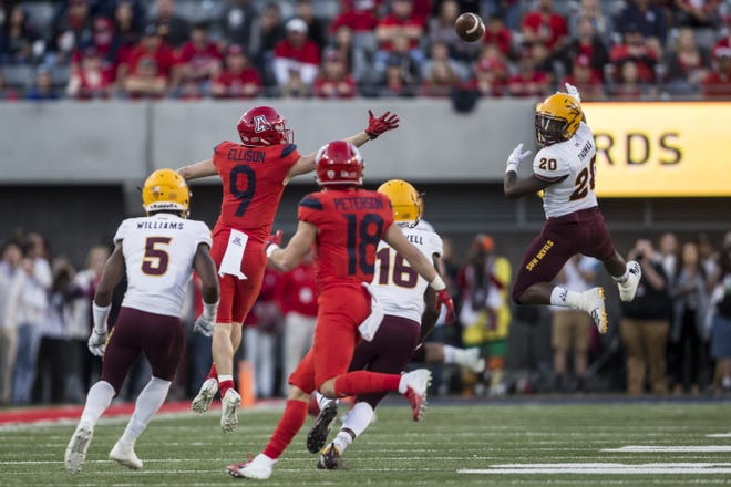 Arizona State's Aashari Crosswell intercepts a pass in the second half of the Territorial Cup. Crosswell finished with four picks on the season and has set a personal goal to lead the Pac-12 in that category in 2019.