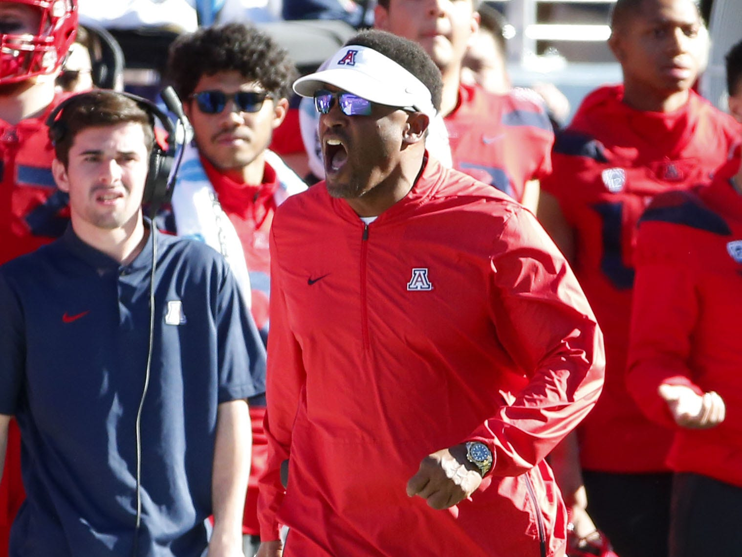 Arizona Wildcats head coach Kevin Sumlin is upset about a call during the Territorial Cup football game against the Arizona State Sun Devils at Arizona Stadium in Tucson on November 24.