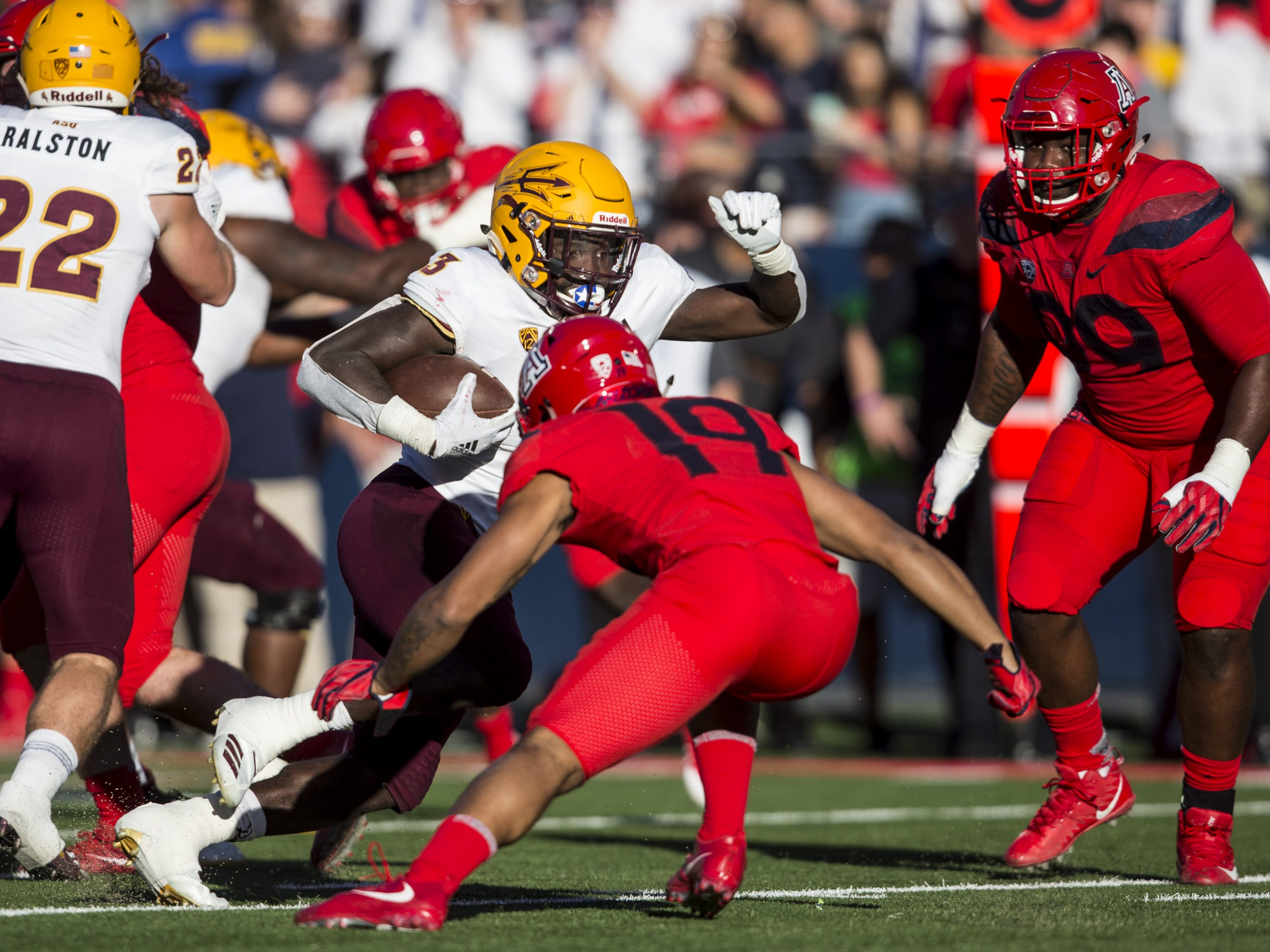 Arizona State's Eno Benjamin rushes for a touchdown against Arizona during the second half of the Territorial Cup on Saturday, Nov. 24, 2018, at Arizona Stadium in Tucson, Ariz. Arizona State won, 41-40.