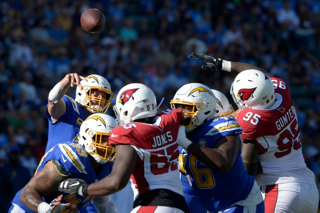 Nov 25, 2018; Carson, CA, USA; Los Angeles Chargers quarterback Philip Rivers (17) passes during the first quarter against the Arizona Cardinals at StubHub Center. Mandatory Credit: Jake Roth-USA TODAY Sports