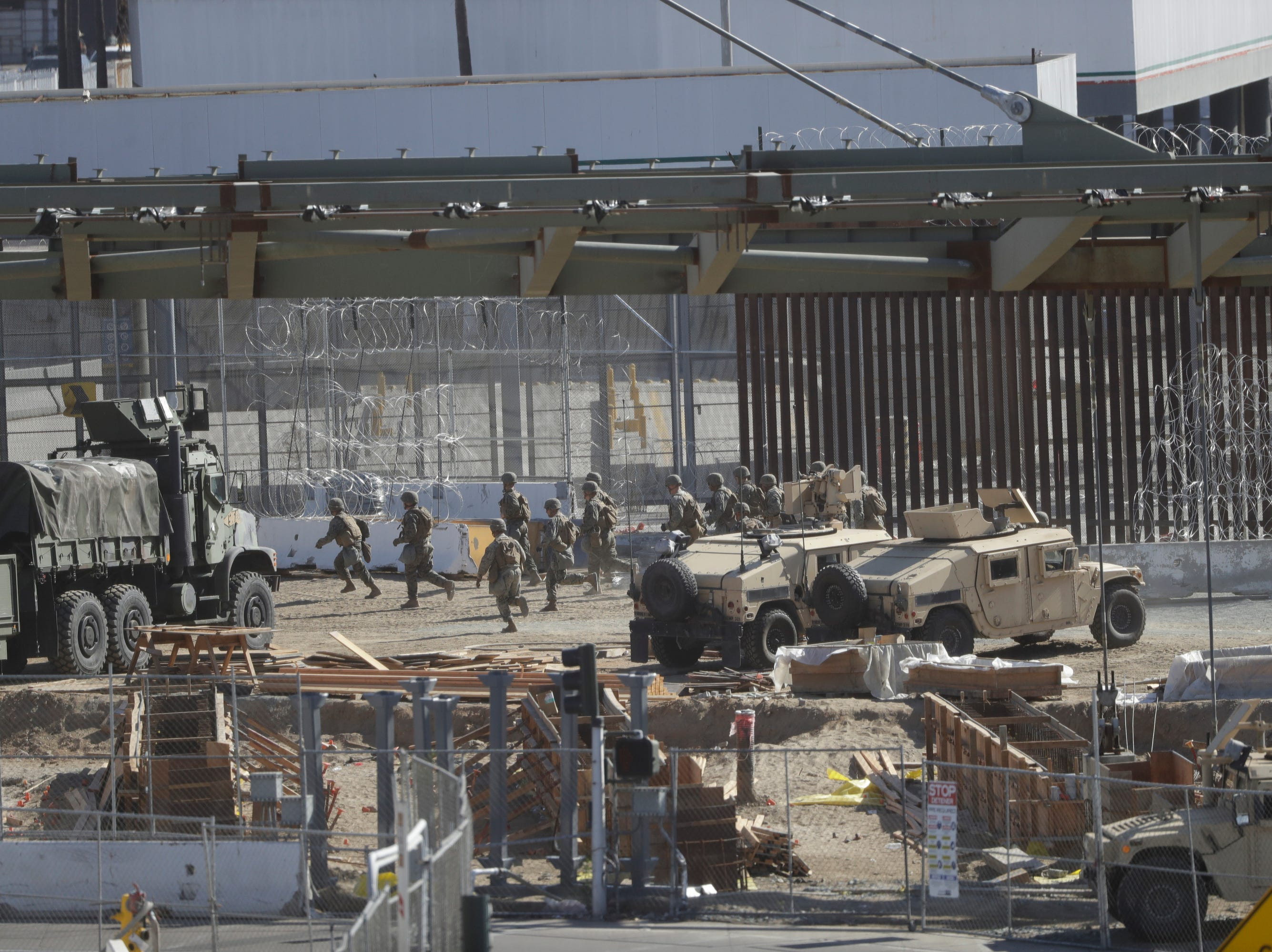 U.S. military personnel deploy at the San Ysidro port of entry in San Diego on Nov. 25, 2018. The Border Patrol office in San Diego said via Twitter that pedestrian crossings have been suspended at the San Ysidro port of entry at both the East and West facilities. All northbound and southbound traffic was halted.