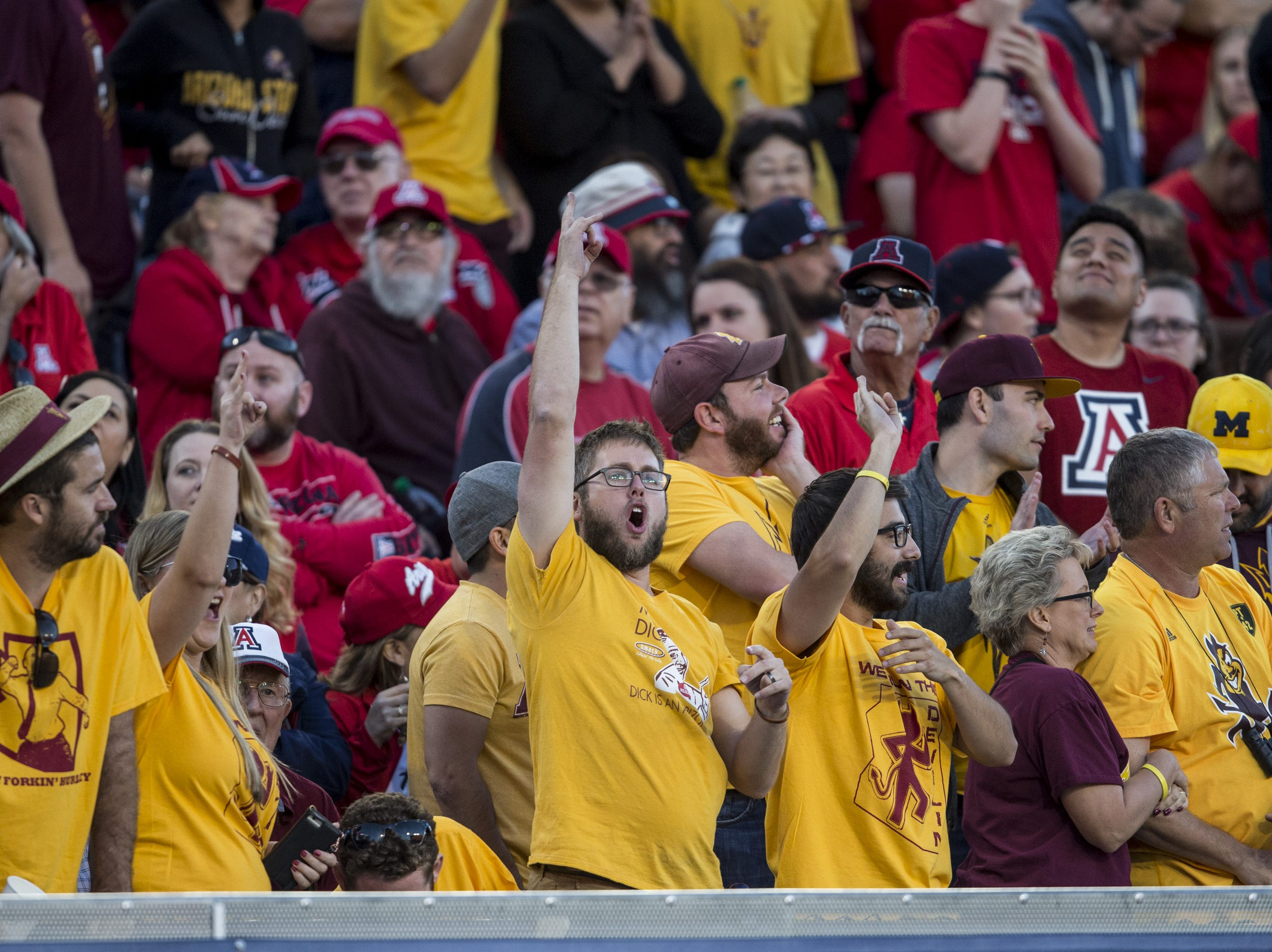 Arizona State fans cheer during the game against Arizona during the second half of the Territorial Cup on Saturday, Nov. 24, 2018, at Arizona Stadium in Tucson, Ariz. Arizona State won, 41-40.