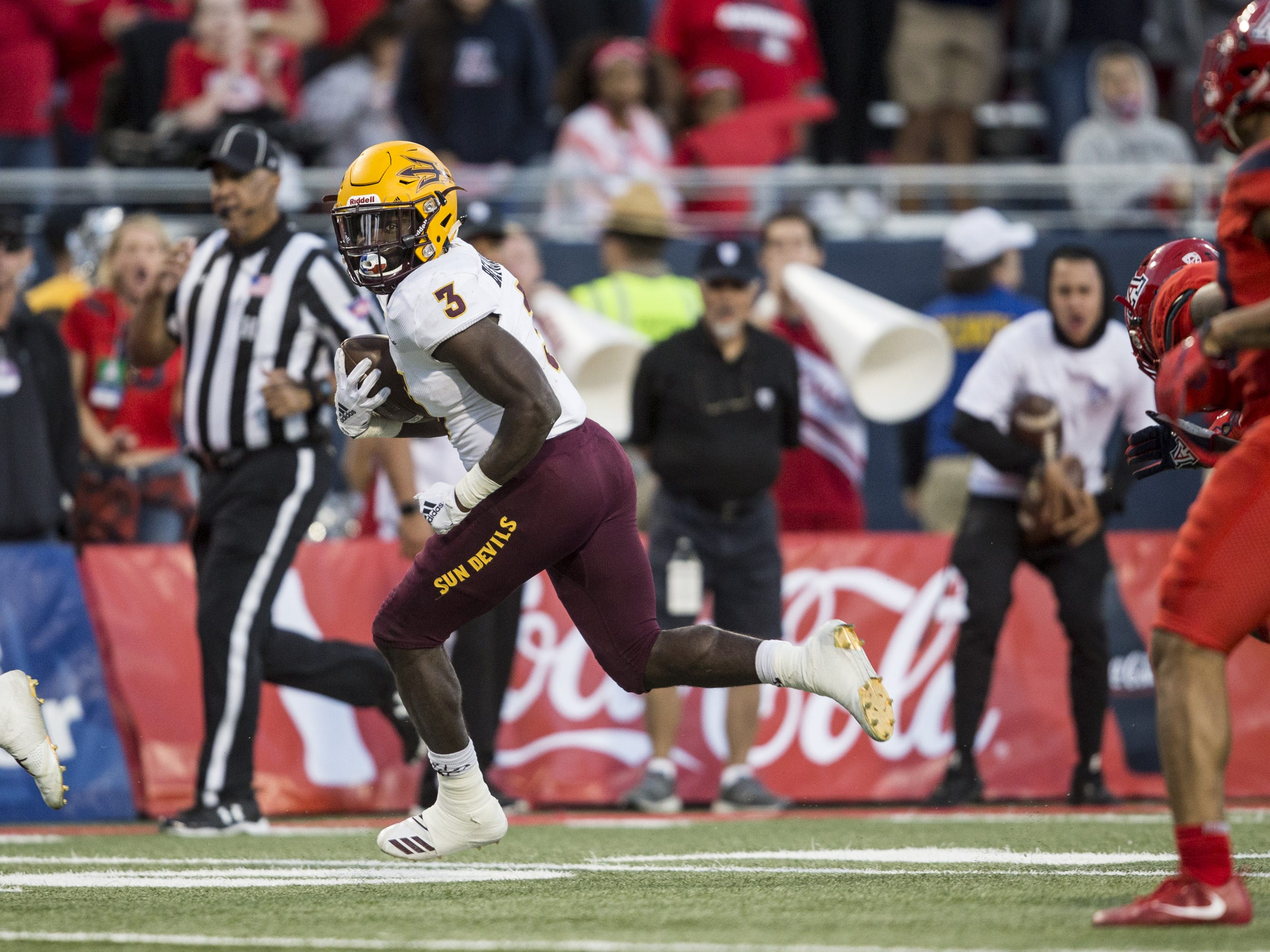 Arizona State's Eno Benjamin rushes for the game-winning touchdown against Arizona during the second half of the Territorial Cup on Saturday, Nov. 24, 2018, at Arizona Stadium in Tucson, Ariz. Arizona State won, 41-40.