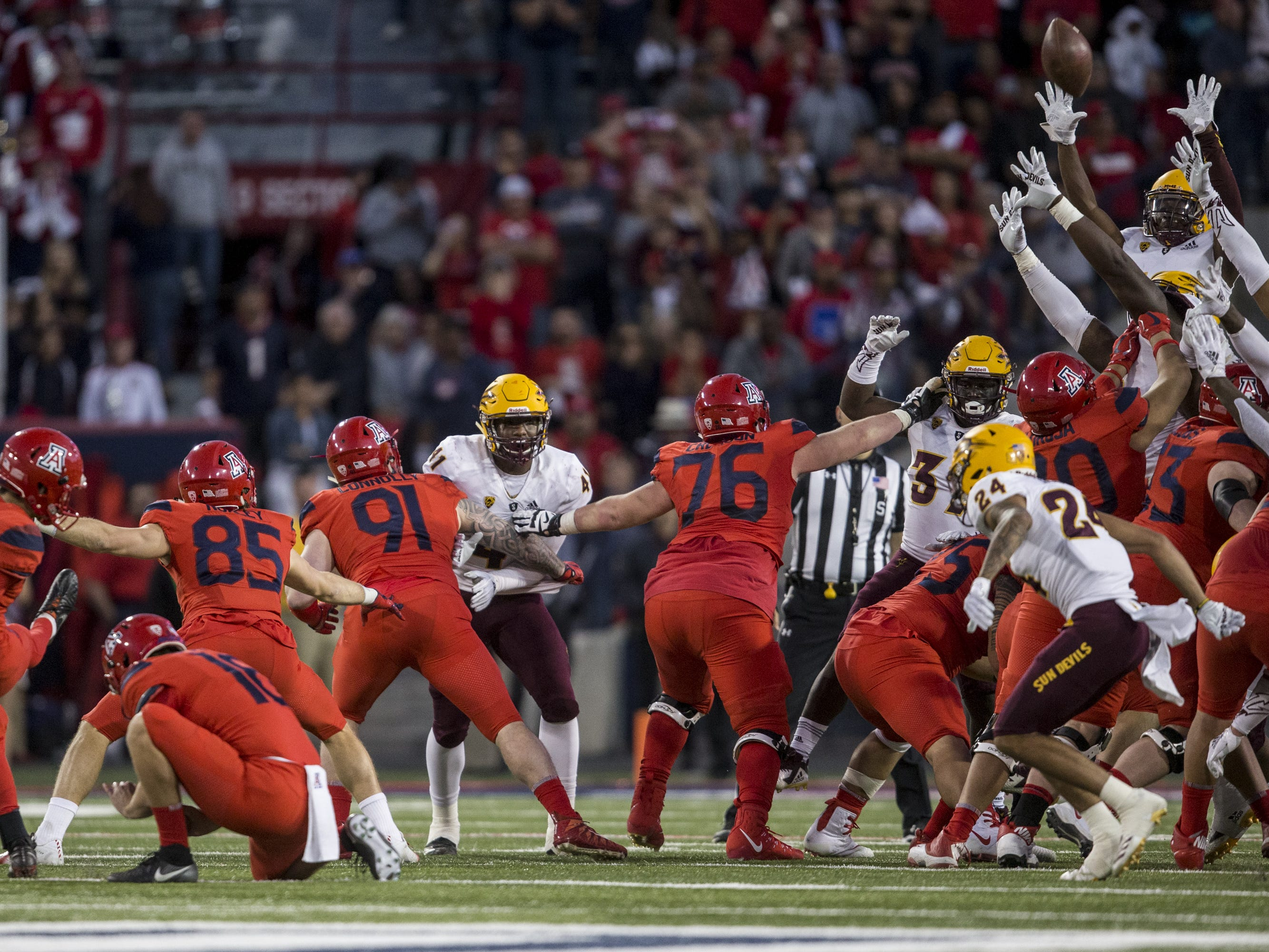 Arizona's Josh Pollack misses a field goal against Arizona State during the second half of the Territorial Cup on Saturday, Nov. 24, 2018, at Arizona Stadium in Tucson, Ariz. Arizona State won, 41-40.