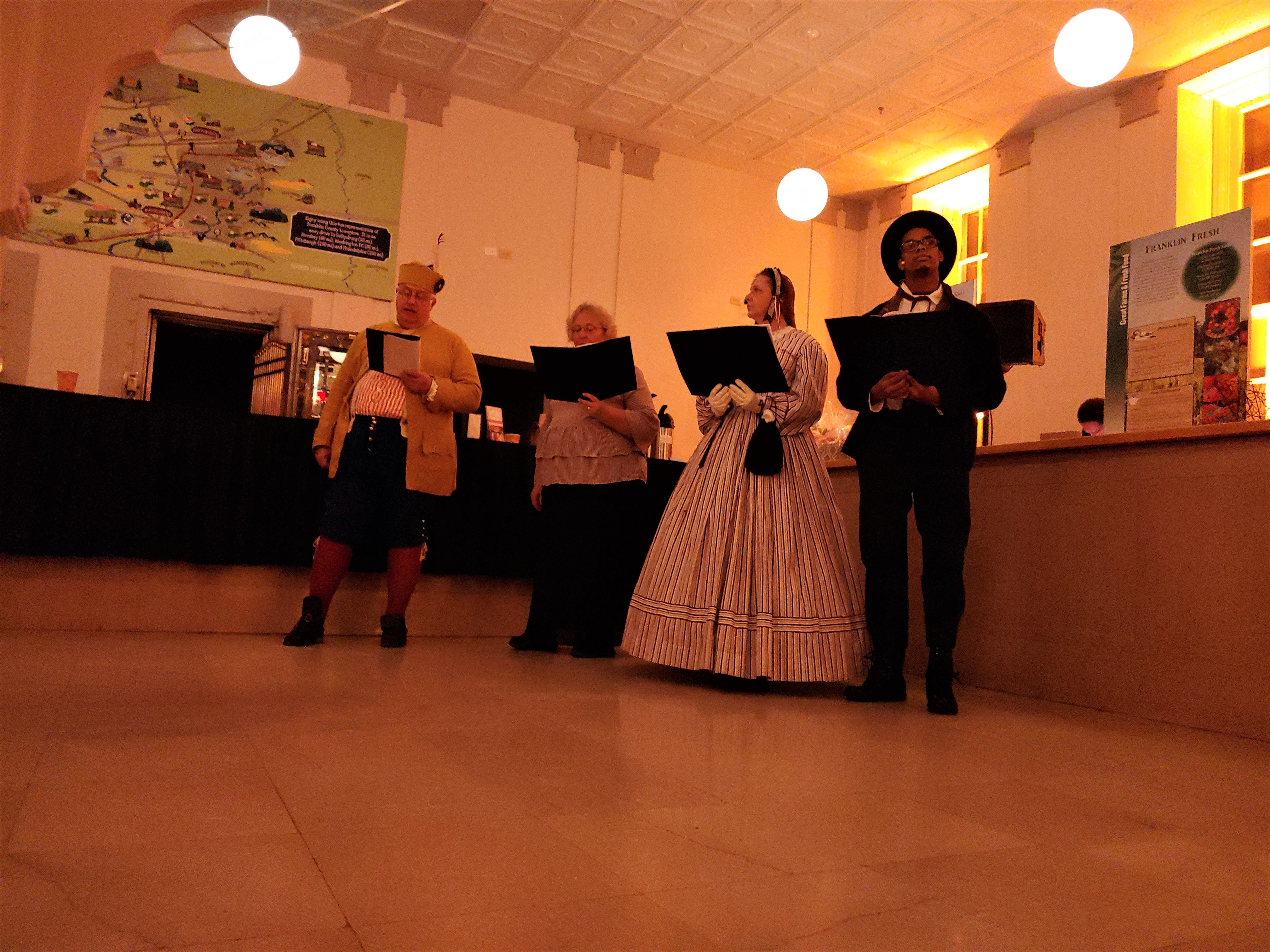 """Franklin County Visitors Bureau presented """"300 Year's of America's History,"""" including the 1864 Ransoming, Burning and Rebirth of Chambersburg, during the grand opening of the 11/30 Welcome Center on Saturday, Nov. 24, 2018. Featured were Andy Newman, Bryton Zook, Carlos Lee, Charles Rittenhouse, David Moore, Dawn Snider, Emily Martin, John Shindledecker, Nancy Godfrey and Susan Wall."""