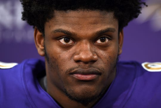 Baltimore Ravens quarterback Lamar Jackson speaks at a news conference after an NFL football game against the Oakland Raiders, Sunday, Nov. 25, 2018, in Baltimore. (AP Photo/Gail Burton)