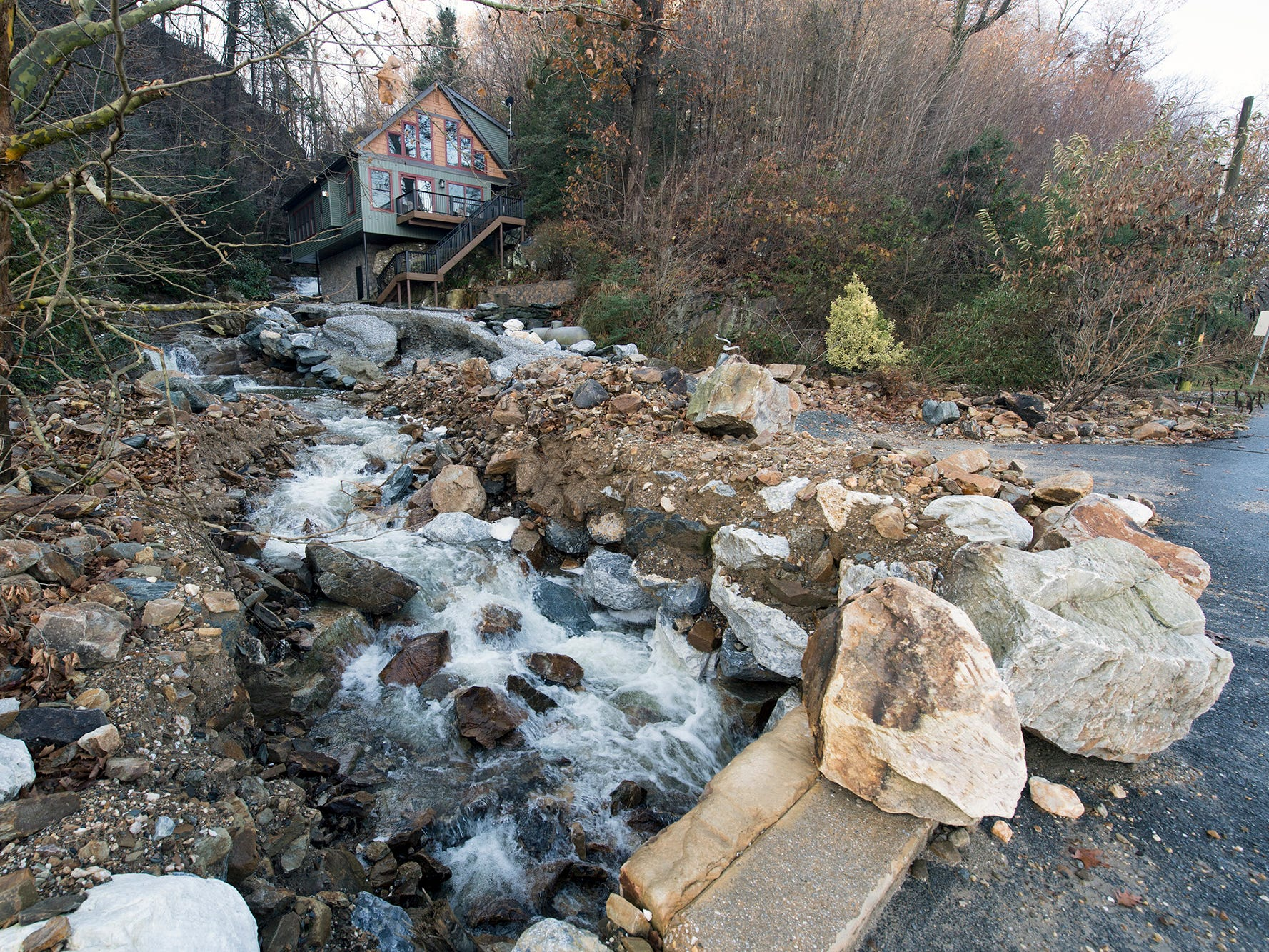 A driveway along Wildcat Falls in Hellam Township has yet to be reconstructed after flooding earlier in the year on Sunday November 25, 2018. The drive had been reconstructed earlier this year before is was washed out again.