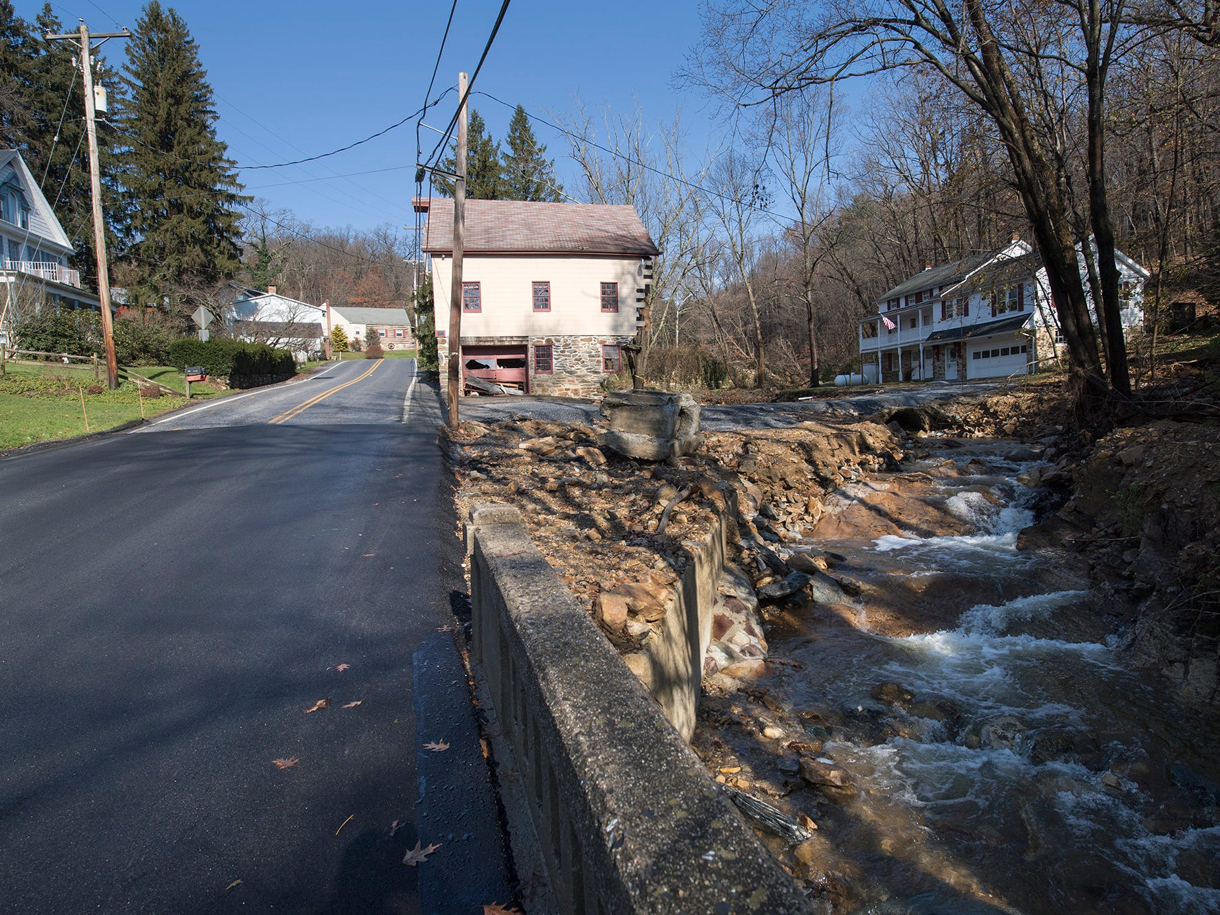 A repaired road where a stone barn was damaged on Kreutz Creek Road in Hellam Township on Sunday November 25, 2018.
