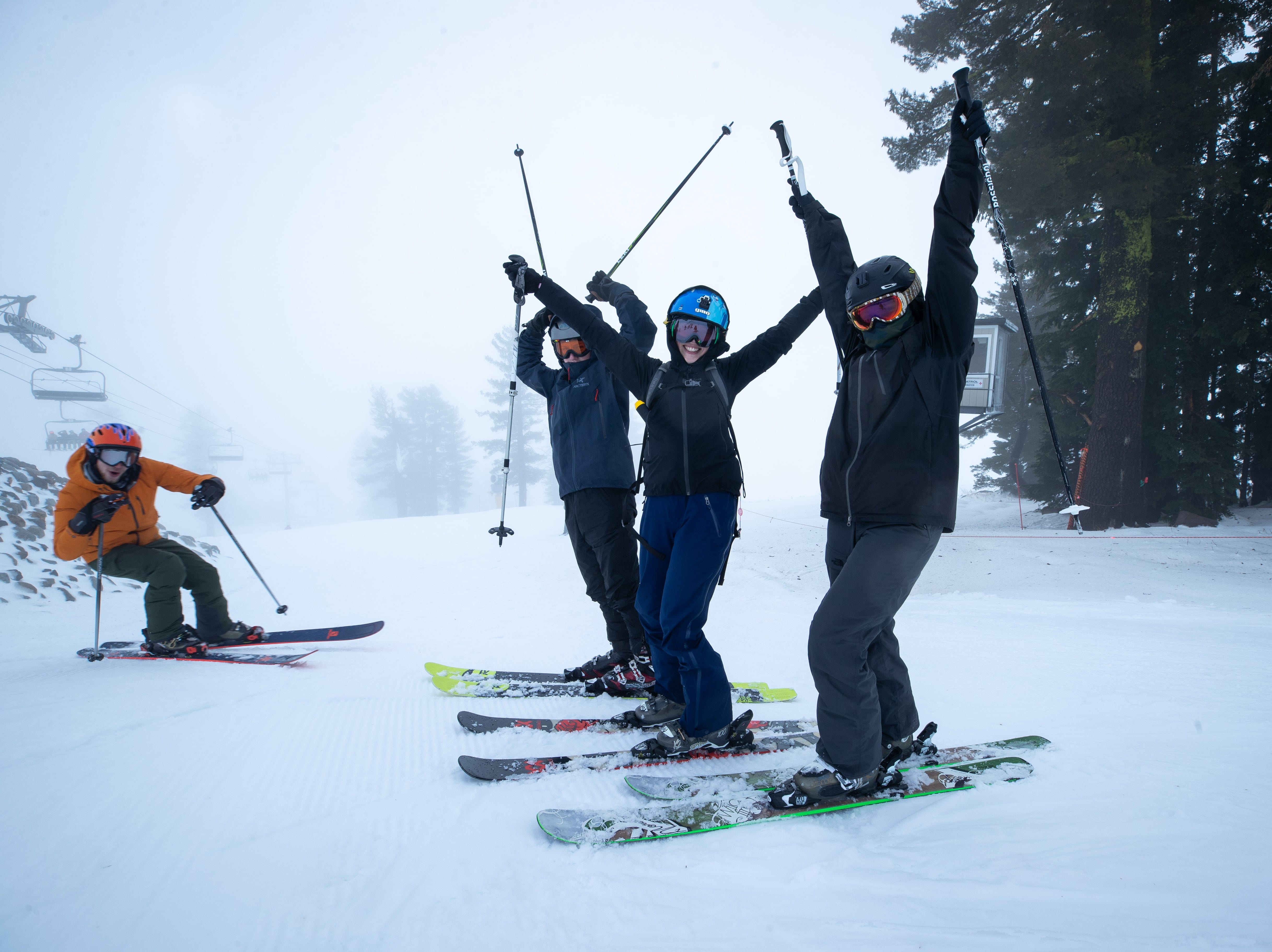 The upper levels of Squaw Valley Alpine Meadows received as much as 25 inches of snow from a storm over the Thanksgiving holiday weekend.