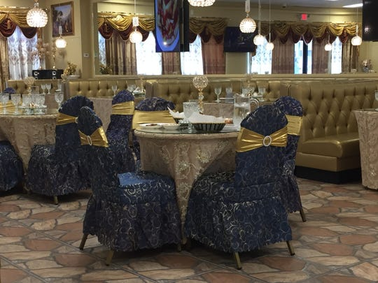 A glittery gold and blue color scheme distinguishes Haveli Indian Cuisine & Bar in Sparks.
