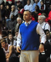 Richmond High School head coach Shabaz Khaliq during a boys basketball game against Jay County Saturday, Nov. 24, 2018 at Richmond High School's Tiernan Center.