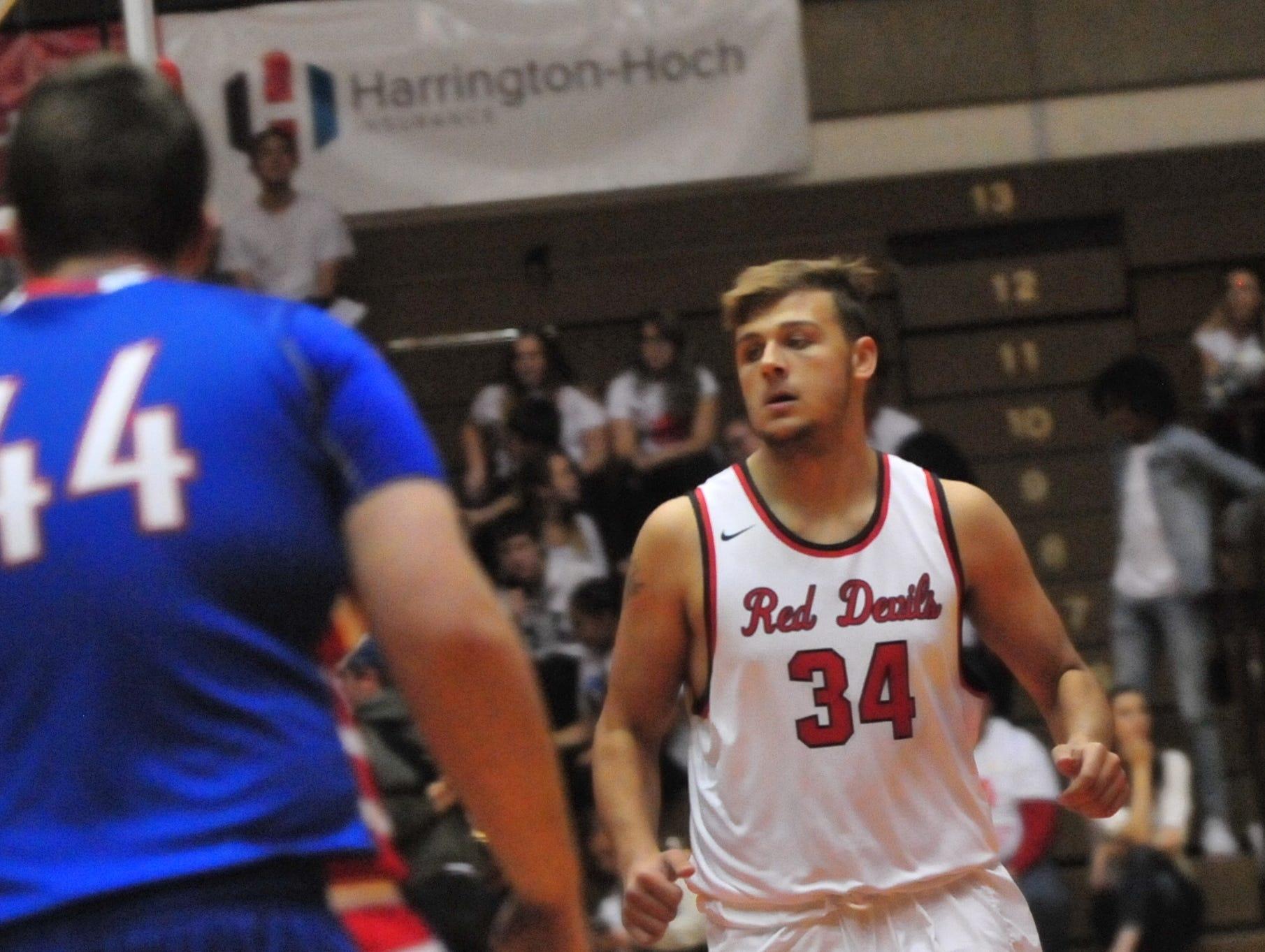 Zach Hill (34) of the Richmond High School boys basketball team during a boys basketball game against Jay County Saturday, Nov. 24, 2018 at Richmond High School's Tiernan Center.