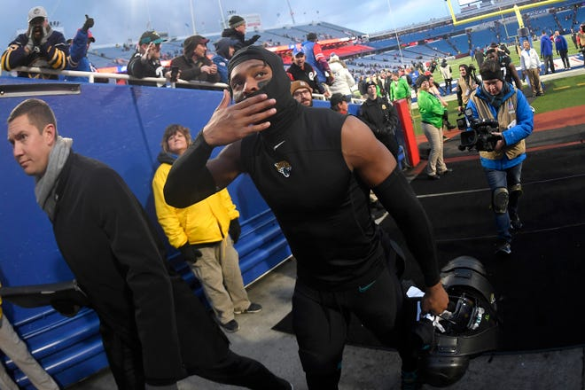 Jacksonville Jaguars cornerback Jalen Ramsey gestures while leaving the field after an NFL football game against the Buffalo Bills, Sunday, Nov. 25, 2018, in Orchard Park, N.Y. The Bills won 24-21. (AP Photo/Adrian Kraus)