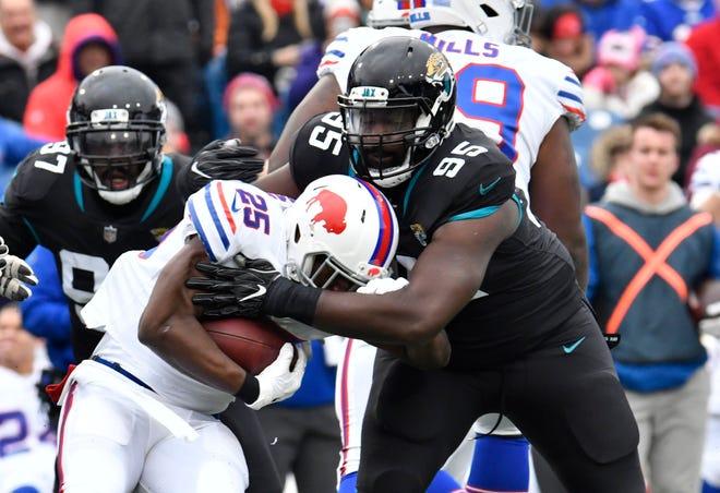 Jaguars nose tackle Abry Jones (95) has been with the team for eight years, longer than any other player currently on the roster.